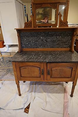 Antique Sideboard Buffet With Marble Top And Mirror
