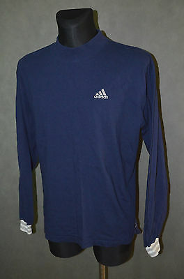 Vintage Retro Oldschool 80's ADIDAS Blue Jumper Top Size M