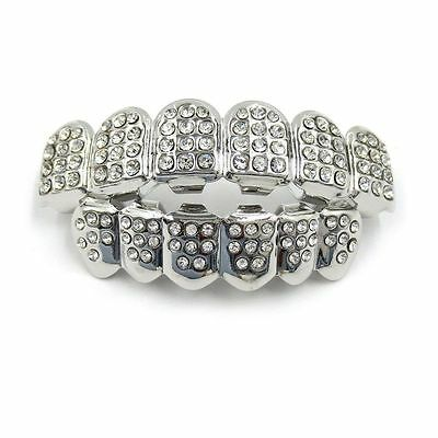Grillz silver Iced Out diamante Top & Bottom Jaws Bling Hip Hop diamond teeth