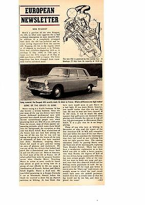 1960 Peugeot 404  ~  Original Single-Page New Car Preview Article / Ad