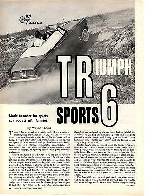 1963 Triumph Sports Six  ~  Great 4-Page Road Test / Article / Ad