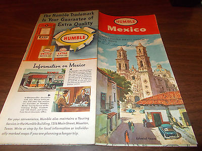 1953 Humble Oil Mexico Vintage Road Map / Great Cover Art