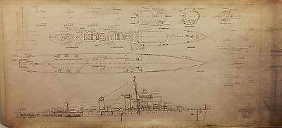 "Plan for Model Builders USS Benson DD421 Destroyer Scale 1/8""= 1"" Big 30""X72"""