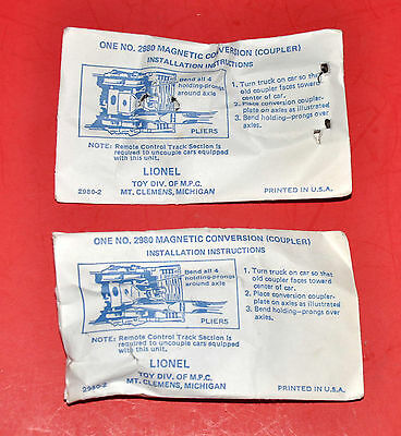 One Pair Lionel Part 2980 Magnetic Conversion Couplers 2 Each New In Sealed Bags