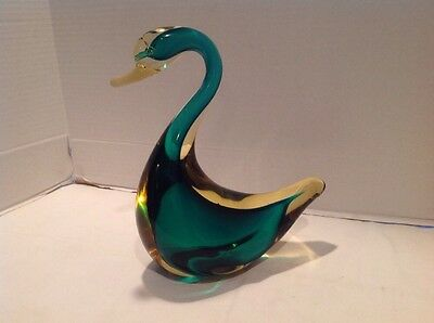 """Vintage Large Murano Glass Seguso Sommerso Duck/Swan 10"""" Green Amber Vintage"""