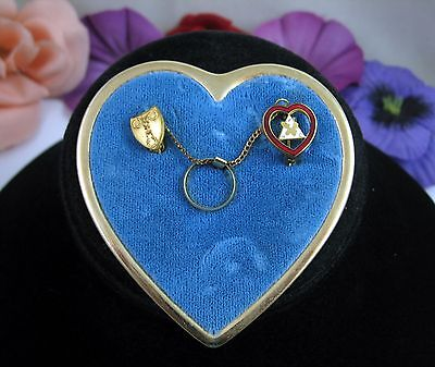 Set of Vintage MOOSE PINS WOTM FHC Fratermal Women RING  Chain on HEART BROOCH