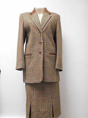 Womens Equorian Heritage Pure New Wool Checked  Skirt Suit Size 12