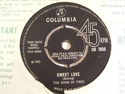 THE SONS OF FRED Sweet Love VG / Ex Columbia UK 1965 7""