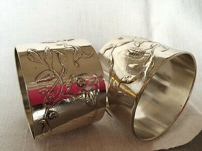 2 French Silver Plated Adolphe Boulanger Napkin Rings with raised leaf pattern