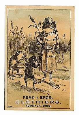 Victorian Trade Card PEAK BROS CLOTHIERS Norwalk OH Frog in trenchcoat