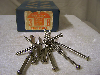 """#8 x 3"""" Nickel Plated Wood Screws Round Head Slotted  Made in USA  Qty. 144"""