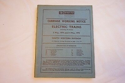 1974 Carriage Working Notice Electric Trains Southern Reg South Western Div