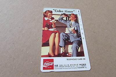 Coca Cola Time Bottle Man Lady On Mint Unused Phonecard From Japan