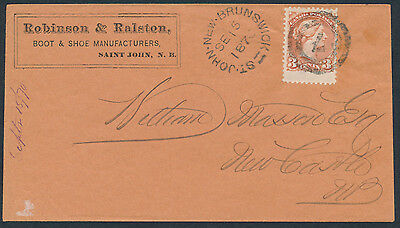 1870 #37b Copper Red 3c Small Queen, St John NB Advertising Cover, 2-Ring 7