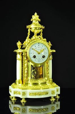 Gorgeous Antique French Ormolu/Marble Mantel Clock approx. 1880