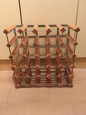 Wood And Metal Wine Rack Holds 30 Bottles