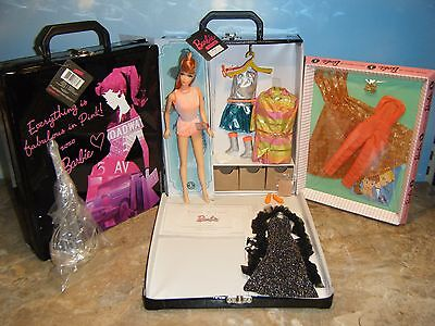 2009 TWIST 'n TURN BARBIE, 5 REPRO FASHIONS, DOLL CASE w/3 DRAWERS & ACCESSORIES
