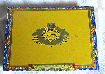 Partagas Sabrosos Yellow Paper Covered Wood Cigar Box - Guitar Size - Nice!