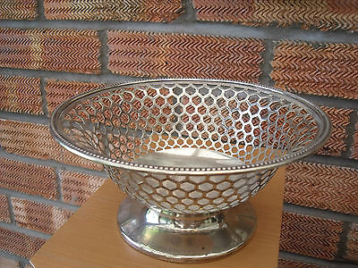 Antique Silver Plated Bowl Basket with Beehive Type design ~marked KO13 23