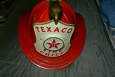Vintage Texaco Fire Chief Red Helmet With Microphone And Loudspeaker