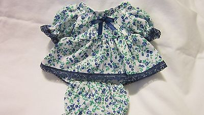 "Blue/Green Floral Print Dress/bloomers, fits 10"" Lots to Love Berenguer babies"