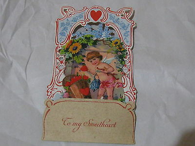 Antique Valentine's Card - Victorian Angel Floral Hearts - Fold-Out - GERMANY