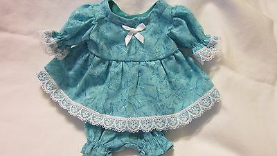 "Turquoise Print Dress/bloomers, fits 10"" Lots to Love Berenguer babies"