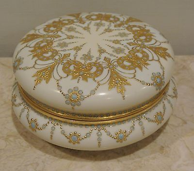"French Limoges Large Hand Painted Gold Gilt 7-1/2"" Powder Box Gorgeous"