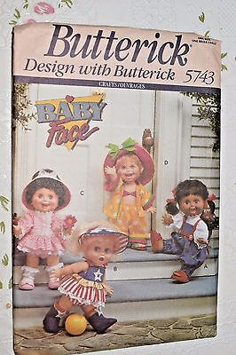 """Butterick BABY FACE DOLL CLOTHES SEWING PATTERN - Fits 13"""" Doll - UNCUT"""