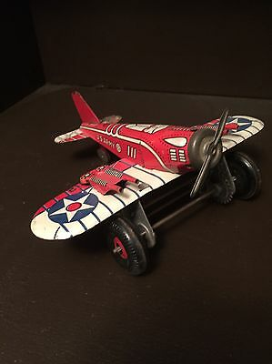 Vintage 1950's Marx Us Army Wind Up Airplane Excellent Working Condition