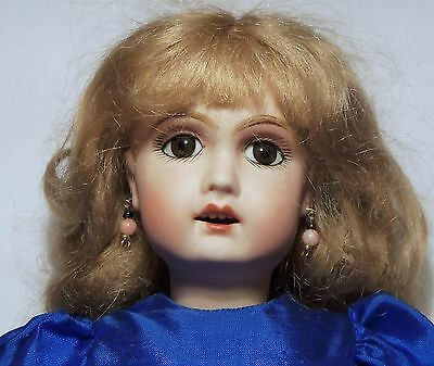 "NICE Reproduction 11"" BLEUETTE Doll, Pierced Ears, Mohair wig, Compo Jntd. Body"