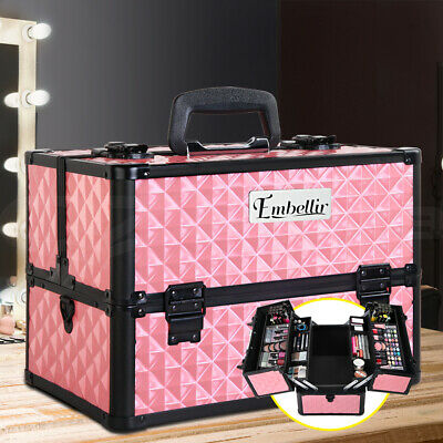 Professional Portable Cosmetics Beauty Case Makeup Bags Box Organiser Strap
