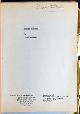"""Jules Feiffer Movie Script """"Little Murders"""" Signed Annotated by Doris Roberts"""