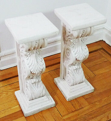 White Acanthus Leaf Statue Pedestal Column Stand Base Set (Local Pickup Only)