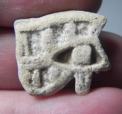 Zurqieh -Af1385- Ancient Egypt , Faience Eye Of Horus Amulet. 600 - 300 B.c