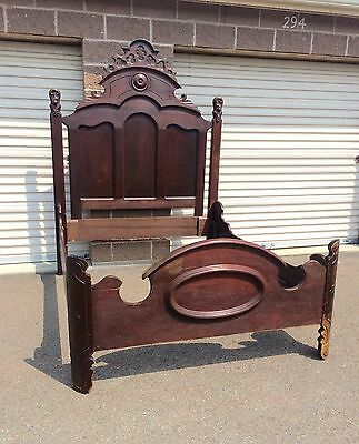 Antique American Walnut Victorian Beautifully Carved High Back Bed circa 1865