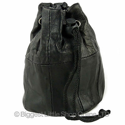 NEW Lined Black Soft Leather Drawstring Wrist Pouch Coin Purse Change Handy