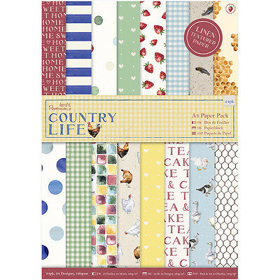 """Papermania A4 Single-Sided Paper Pack 24/Pkg-Country Life, 24 Designs/1 Each"""