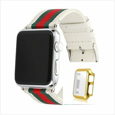 Stripes White Mix Colour Woven Wrist Band For  Apple Watch 42mm Gold Case x 1