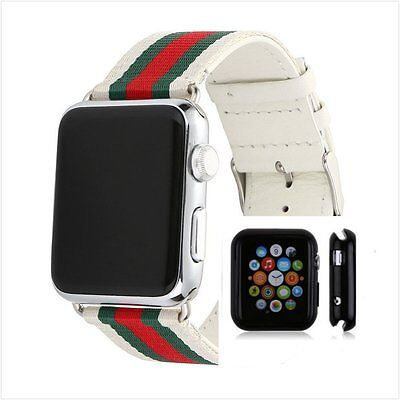 Stripes White Mix Colour Woven Wrist Band For  Apple Watch 42mm Protect Case x1