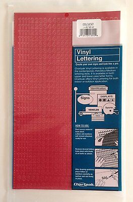 Chartpak 1/4-inch Red Stick-on Vinyl Numbers (01102), Full Sheet