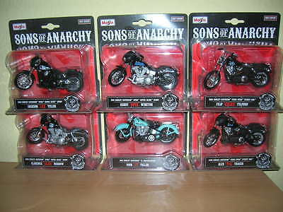 Maisto Harley-Davidson Sons of Anarchy Jax Opie Clay Chibs JT Tig Set of 6, 1:18