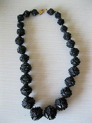 "Antique Whitby Jet Mourning Intricately Carved 17"" Beaded Neckalce-14k clasp"