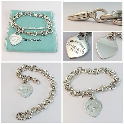 Beautiful Solid Silver Return To Tiffany Heart Tag Bracelet  Rrp £275!