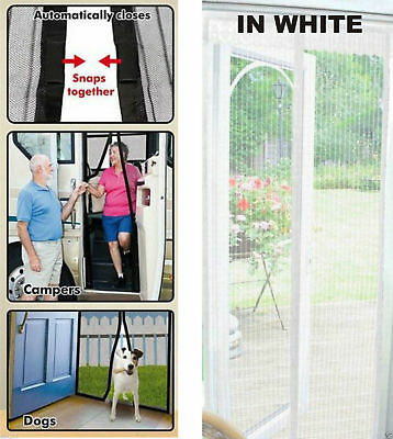 Magic Door Curtain Magnetic Snap Net Mesh Fastening Screen Fly Bug Insect White