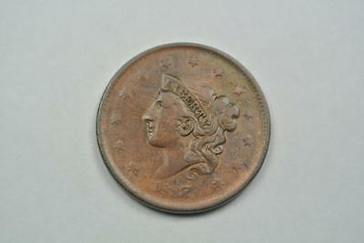 1837 Coronet Head Large One Cent, XF/AU Condition - C2533