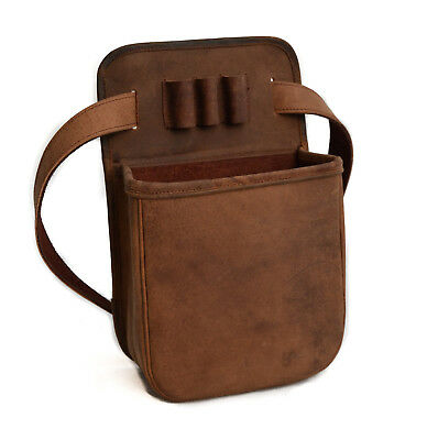 Leather Distressed Shooting Shotgun 50 Cartridge Pouch by John Shooter
