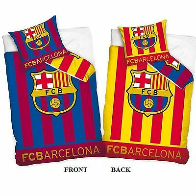 Fc Barcelona Reversible 100% Cotton Duvet Cover Set New Bedding
