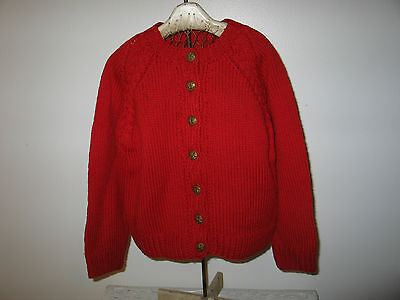 Vtg German Hand Knit Wool Cardigan Sweater Embossed Buttons-Child-LG Doll-Bear