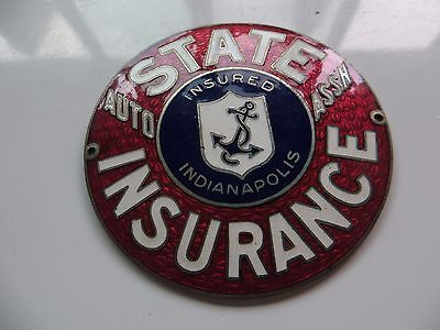 Original STATE AUTO ASSN.INSURANCE EMBLEM INSURED INDIANAPOLIS tag id CO.Sign